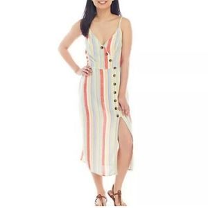 Sandy & Sid Striped Colorful Dress Asymmetrical